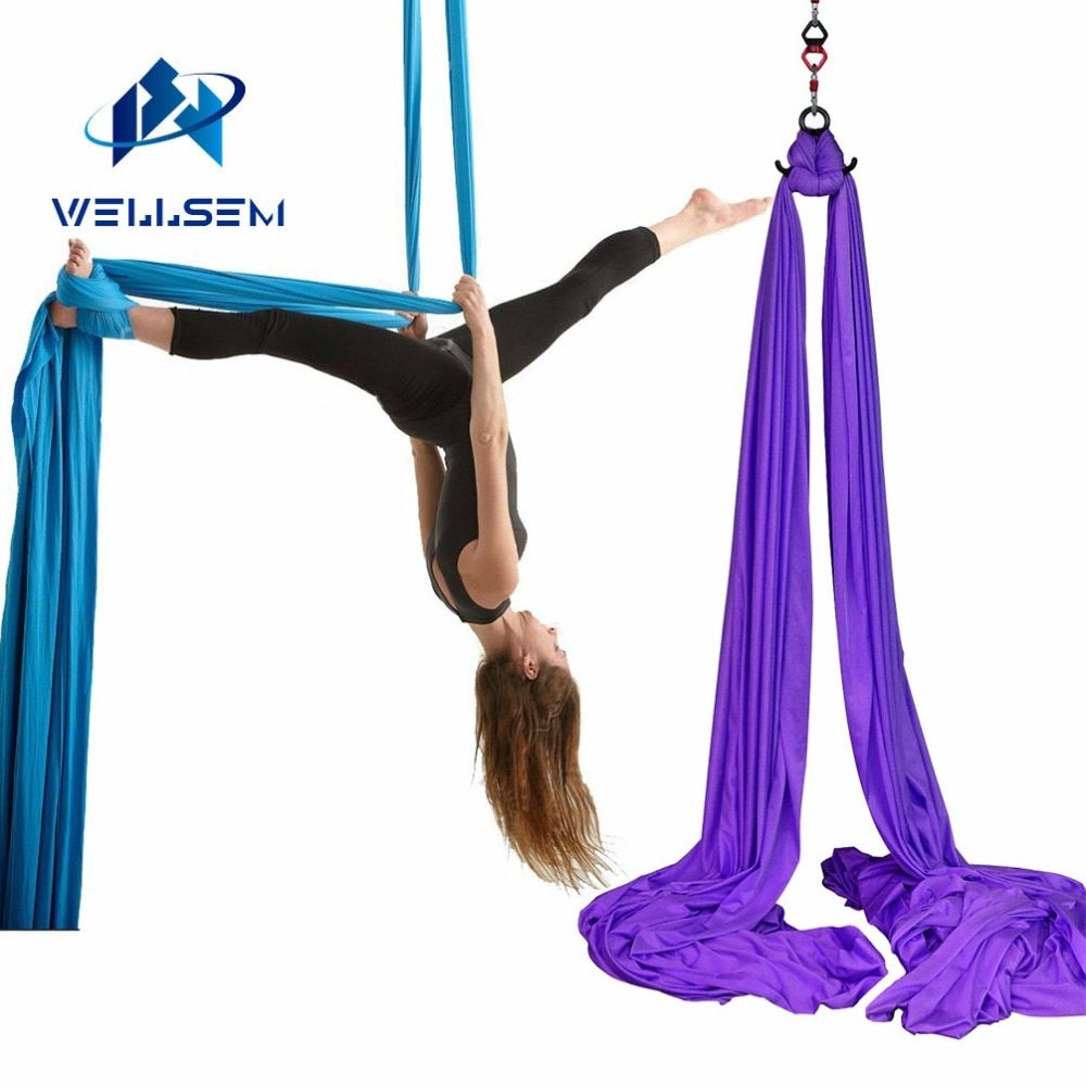 Wellsem 8.2x2.8M Aerial Silks Equipment Anti-gravity Yoga Hammock Swing Yoga for Home Gymnastics Flying Dance & Body Shaping