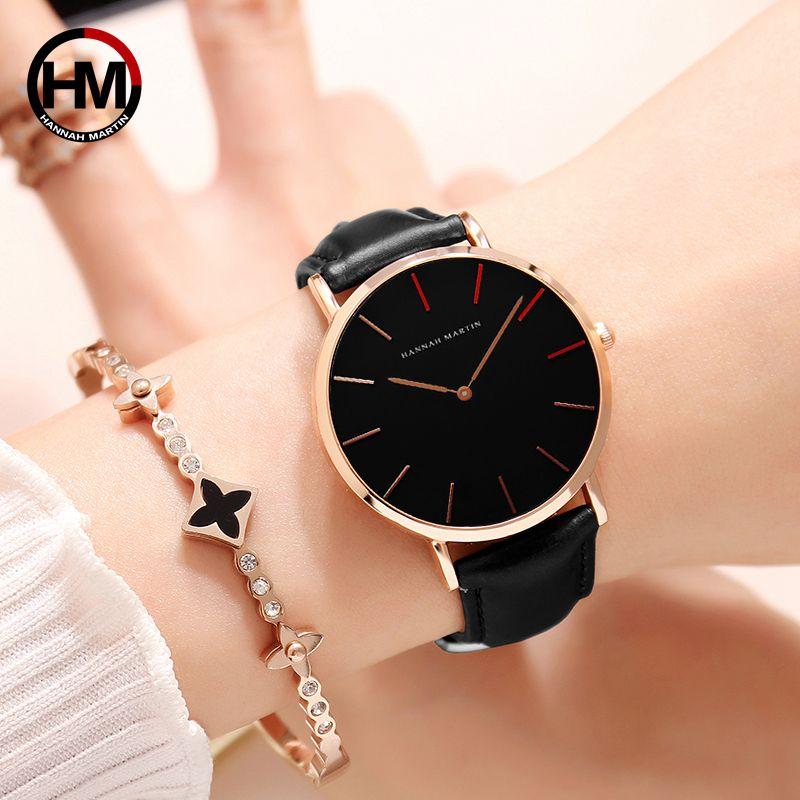 2018 Dropshipping Japon Mouvement À Quartz Uhren Dame Creative Femmes Montre Horloge de luxe Noir En Cuir Dames Montre Reloj Mujer 36mm