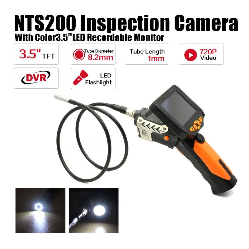 Eyoyo NTS200 Endoscope Inspection Camera 3.5 Inch LCD Monitor 8.2mm Diameter 1 Meters Tube DVR Borescope Zoom Rotate Flip