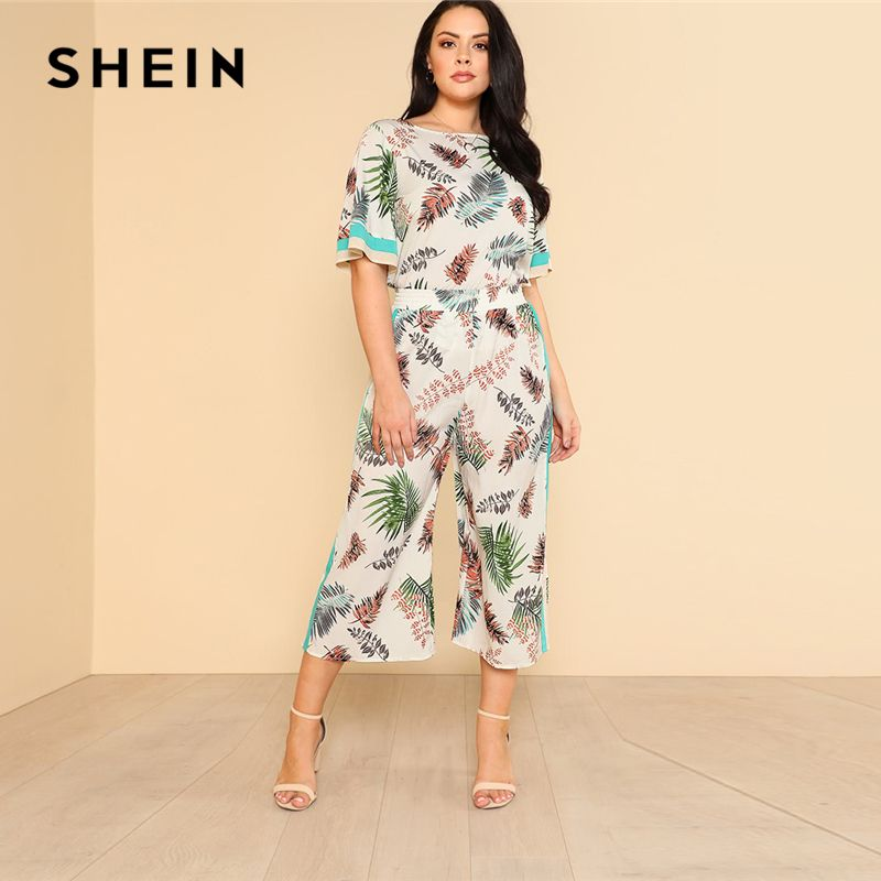 SHEIN Striped Panel Tropical Top & Culotte Pants Set Boat Neck Short Sleeve Top With Pants Women Plus Size Vacation Twopiece