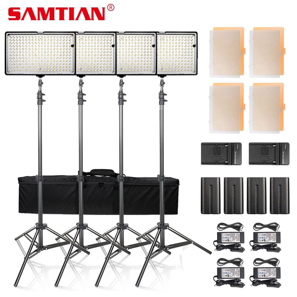 SAMTIAN 4SETS Dimmable 3200K/5600K 240 LED Video Photo Studio Light Panel Kit With Battery and Stand For Photography Lighting