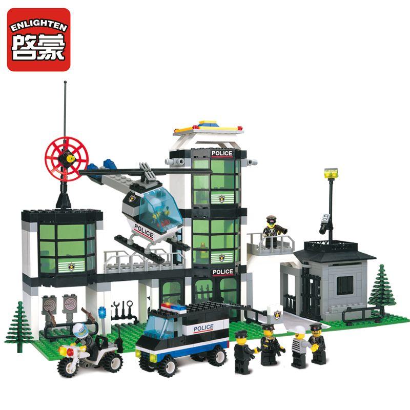 ENLIGHTEN City Police Station Building Blocks 3D Model Building Blocks Compatible Legoe City Blocks Brinquedos Toys For Children