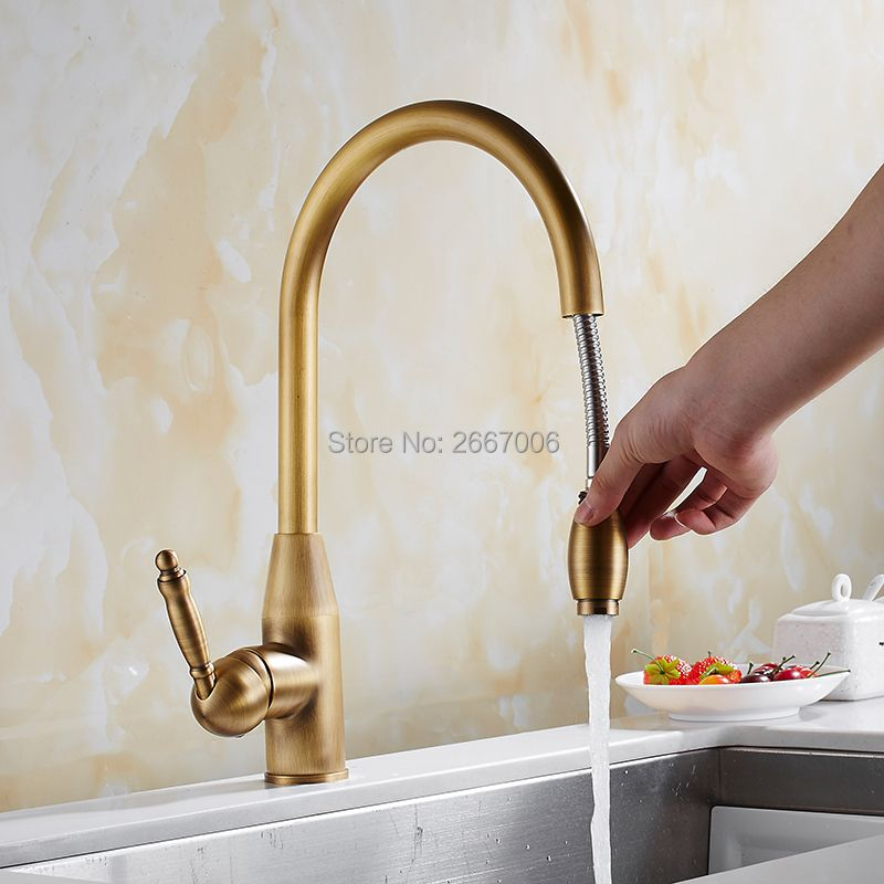 GIZERO Good Quality Pull Out Sprayer Faucet Chrome Gold Antique Brass Mixer Tap With Flexible Hose Kitchen Sink Faucet GI2117