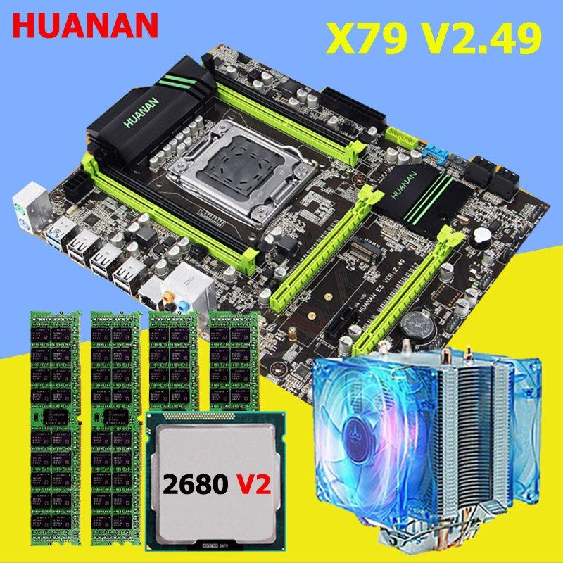 HUANAN X79 motherboard CPU RAM combos with cooler V2.49 X79 LGA2011 processor Xeon E5 2680 V2 RAM 16G(4*4G) DDR3 RECC all tested