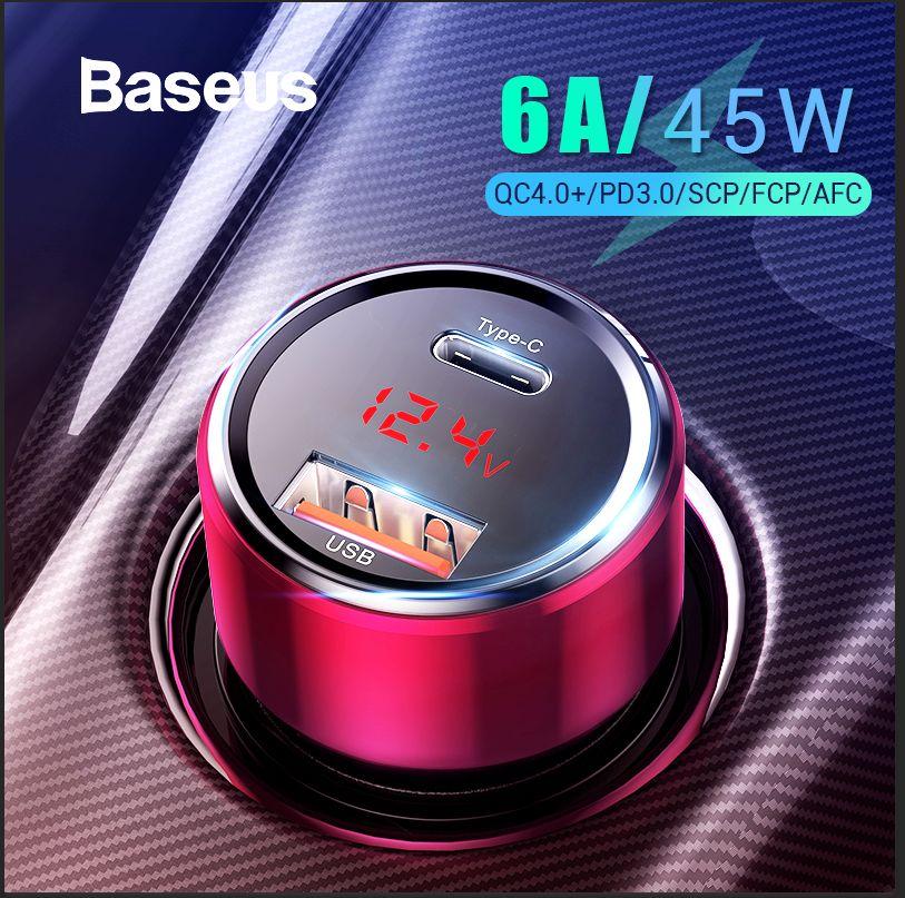 Chargeur rapide 4.0 3.0 USB C Baseus 45 W pour Xiao mi Huawei Supercharge SCP QC4.0 QC3.0 chargeur rapide de téléphone de voiture PD USB C