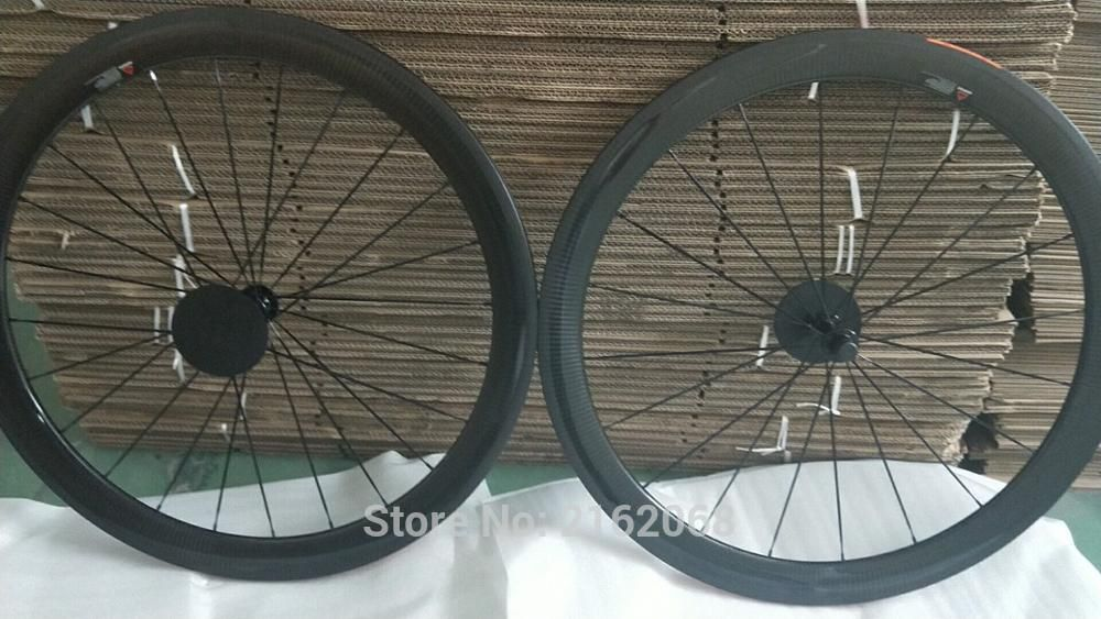 New arrival 700C 50mm Road racing bicycle 3K twill full carbon fibre bike clincher rim wheelset lightest 23 25mm width Free ship