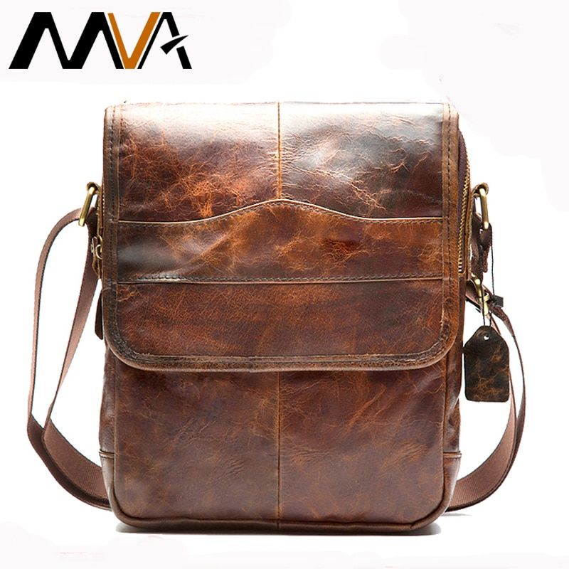 MVA Messenger bag men's shoulder bag Genuine Leather strap Small Casual Flap male man men's Crossbody Bags for Men Leather 1121
