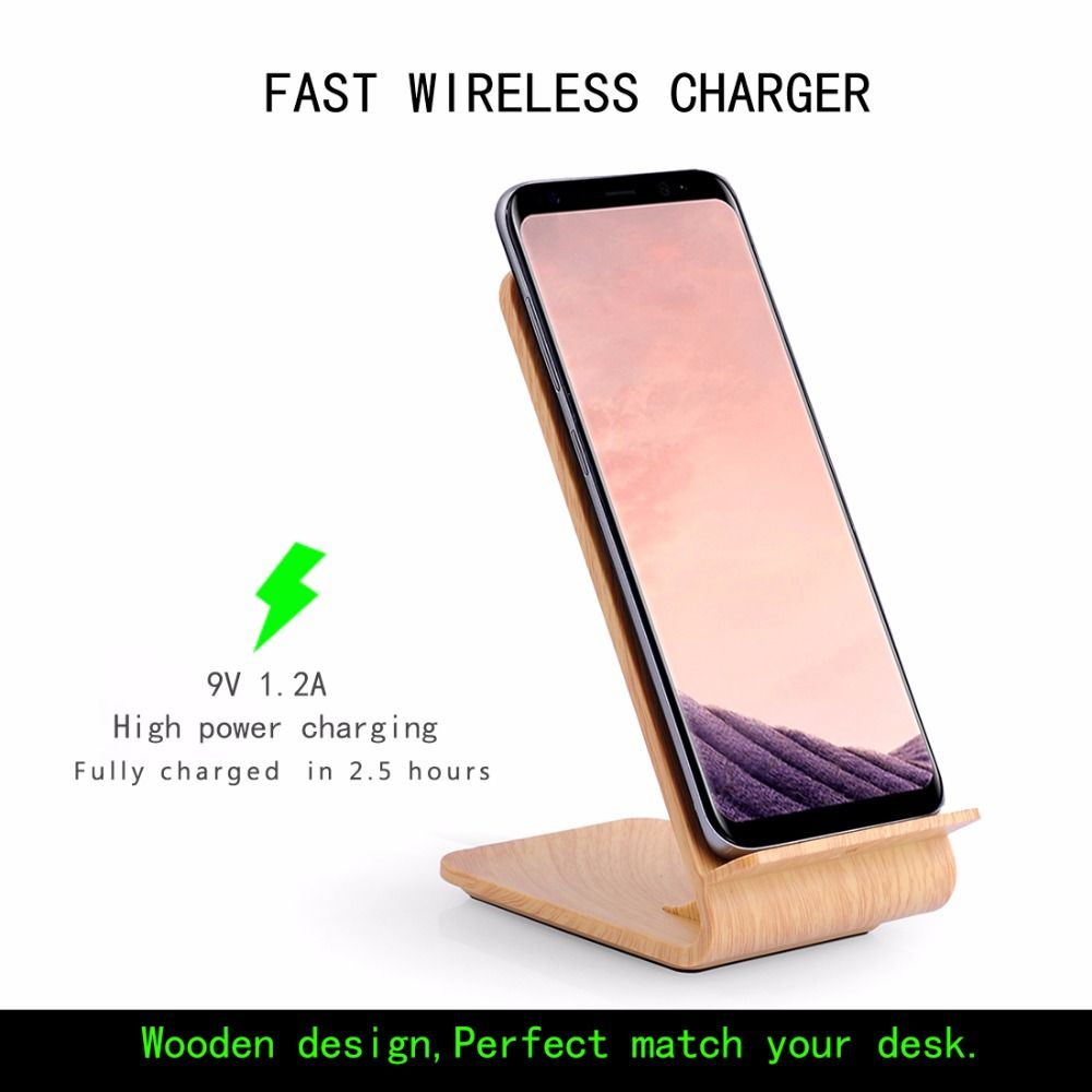 Holz Schnelle Drahtlose Ladegerät Schnell Drahtlose Ladestation für Samsung Galaxy Note8/S8/S8 +/S7/S7 rand/Note5 für iPhone 8/X