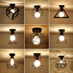 Vintage Plafonniers Plafond De Fer Noir Lampe Rétro Cage Lumière Accessoires de Cuisine Luminaria Lamparas De Techo Éclairage À La Maison