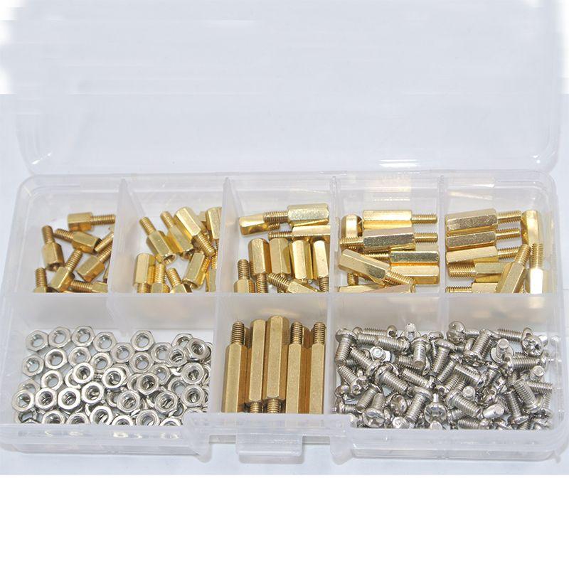 180Pcs/set M3*L+6mm Hex Nut Spacing Screw Brass Threaded Pillar PCB Motherboard Standoff Spacer Kit