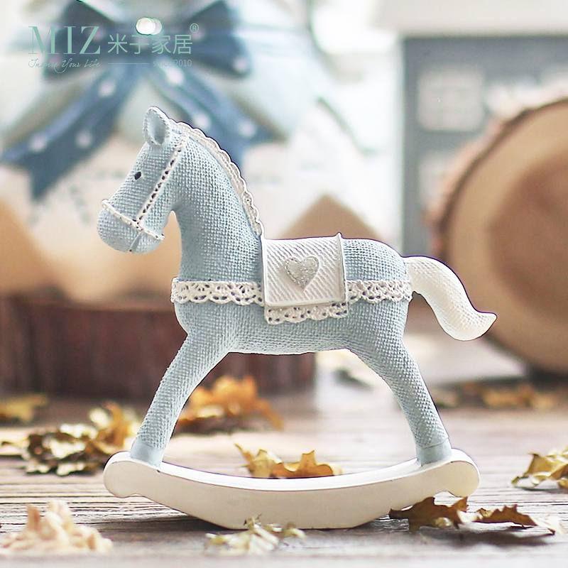 Miz maison cheval bleu fait à la main artisanat jouet pour enfants roly-poly cadeau pour enfants décoration de noël cadeau d'anniversaire