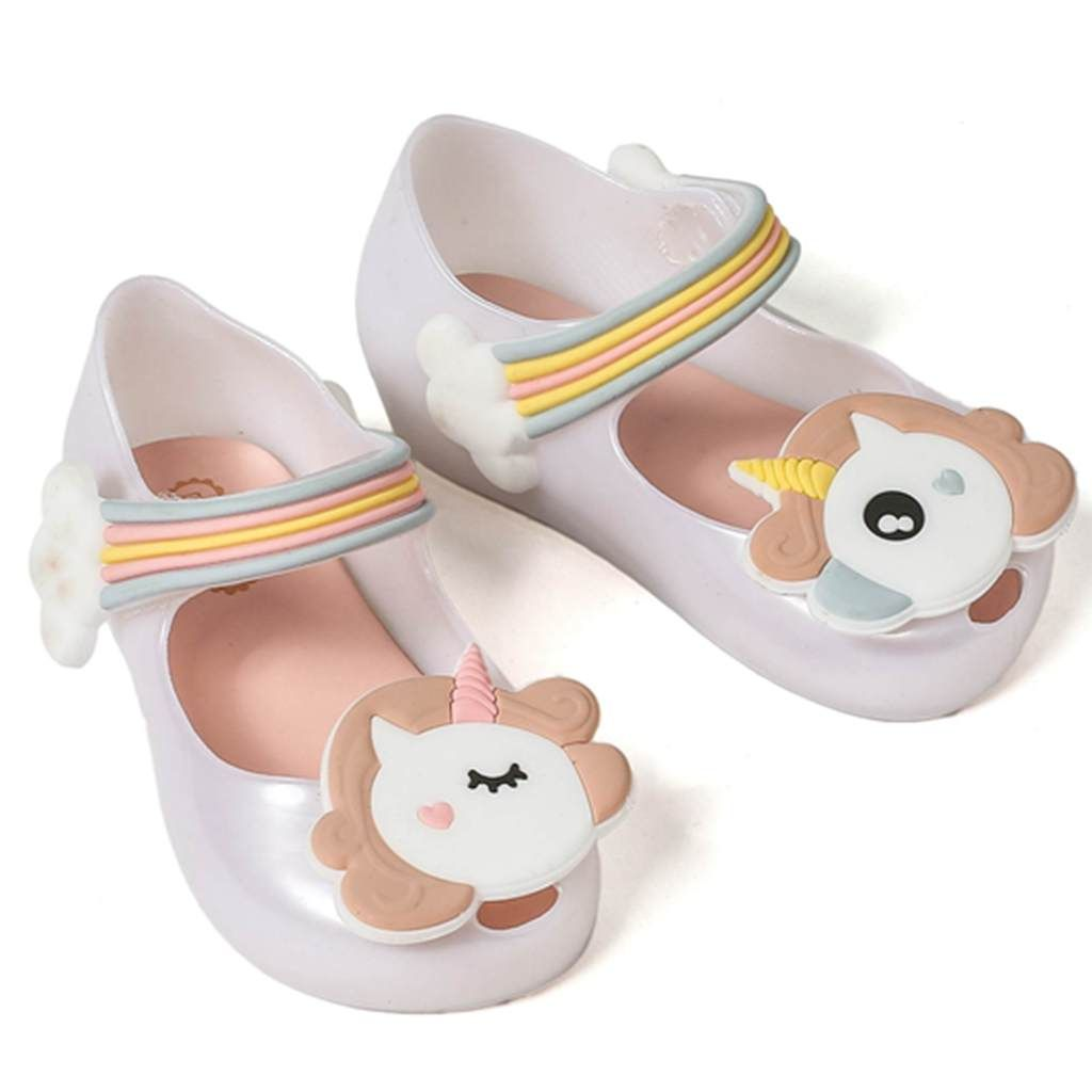 Mini Melissa 2018 Unicorn Shoes New Winter Jelly Shoe Dargon Sandals Fish Mouth Girl Non-slip Kids Sandal Toddler