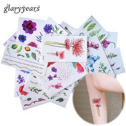Glaryyears 25 дизайнов X 1 лист цветная татуировка в форме цветка тело временная татуировка пион макияж рука нога Искусство стикер зеленый лист DIY