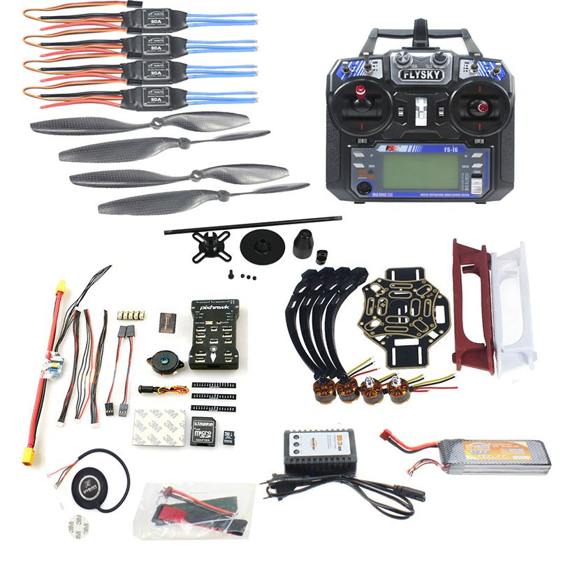 Full Set DIY FPV Drone Model 4-axle Aircraft Kit HJ 450 Frame PX4 Flight Control 920KV Motor GPS FS-i6 Remote Controller Props