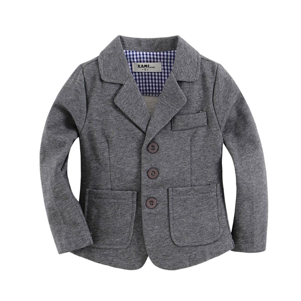 Nouveauté coton tricoté 100% enfant en bas âge garçon blazer solide gris
