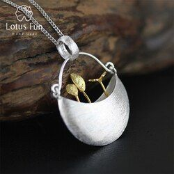 Lotus Fun Real 925 Sterling Silver Handmade Fine Jewelry My Little Garden Design Pendant with Necklace