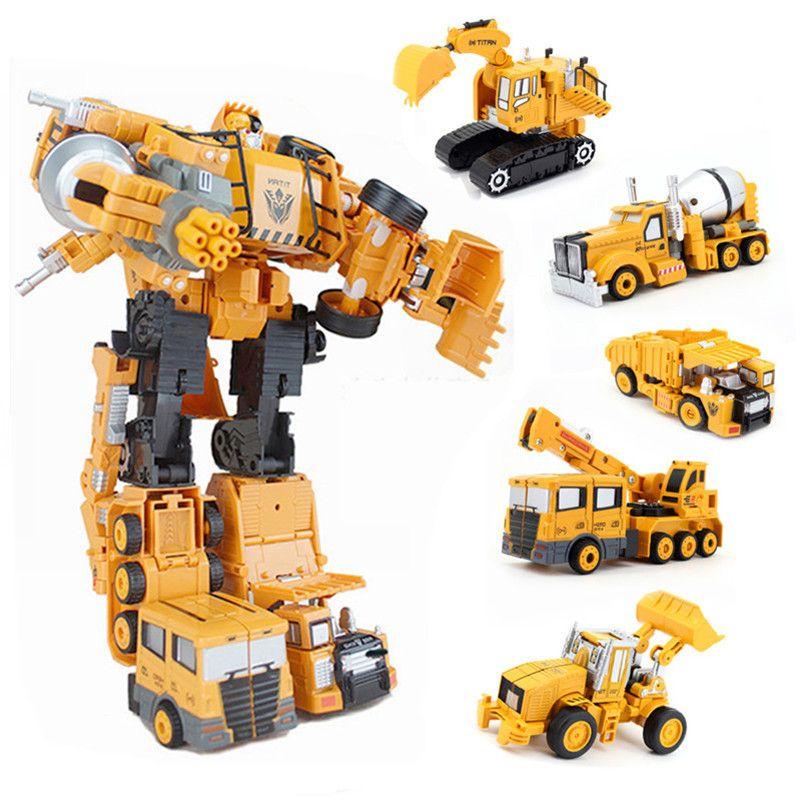 Abbyfrank 5 Dans 1 Transformation Super Voiture Alliage Robot Jouet Assemblée Construction Camion Jouets En Plastique D'ingénierie Véhicules Pour Enfants