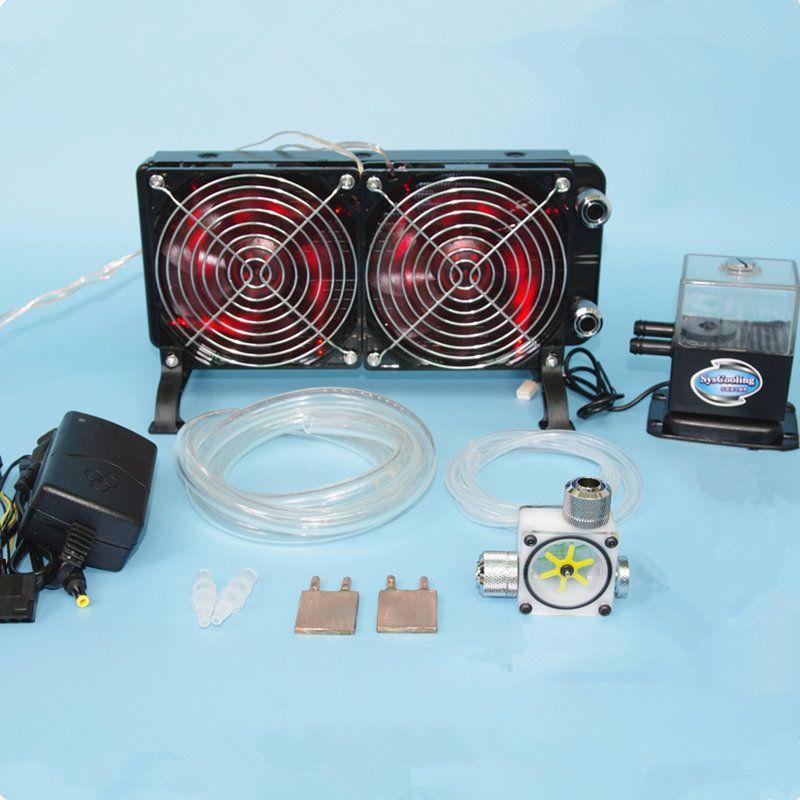 Laptop CPU GPU wasser flüssigkeit kühlung kühler Kupfer wärme abzuführen Kühler wasserpumpen + wassertanks + kühlkörper kit system