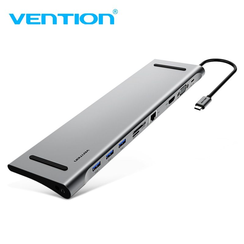 Vention All-in-1 USB C Adapter Type C to HDMI VGA Converter USB HUB with SD/TF Card Reader  PD Charging RJ45 Adapter for MacBook