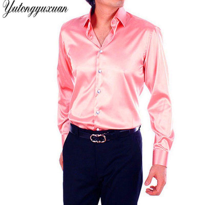 2017 Full Solid Real New Arrival Elastic Silk Men Wedding Slim Shirt Groom Shirts Wear Bridegroom Slik Custom Made Any Colors