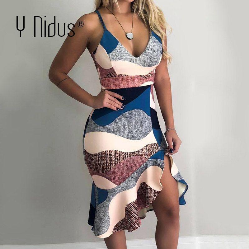 Y Nidus robe d'été femmes Sexy Mini robes 2019 gaine tunique sans manches profonde col en v sangle imprimer robe Streeetwear vestidos