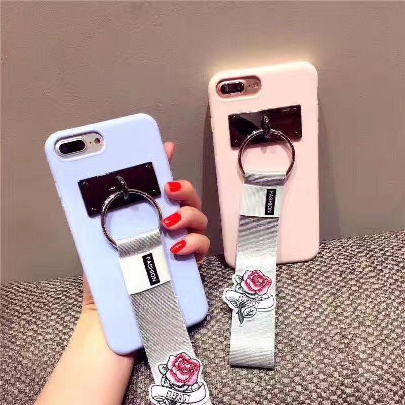 Banjolu новая мода изысканная Вышивка роза ремень для захвата Телефонные Чехлы для iPhone X 8 7 6 6S плюс мягкая TPU задняя В виде ракушки крышка