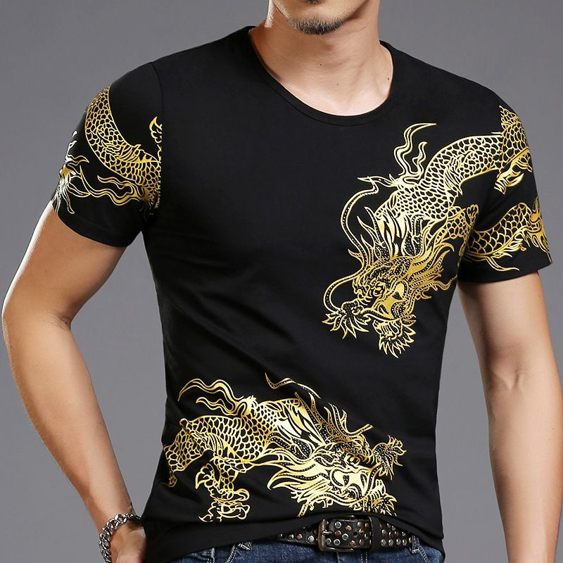 <font><b>Bronzing</b></font> 3d Dragon Totem New Print T-shirt Mens Short Sleeve T Shirts Male High Street Casual Wear For Slim Asia Size 4XL