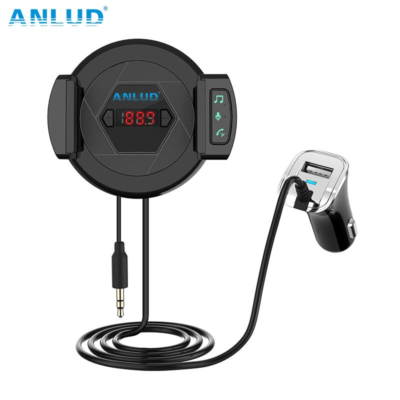 ANLUD Handsfree Bluetooth Car Kit Bluetooth Aux Hands Free Car Kit Music Player with Car Phone Holder USB Charger FM Transmitter