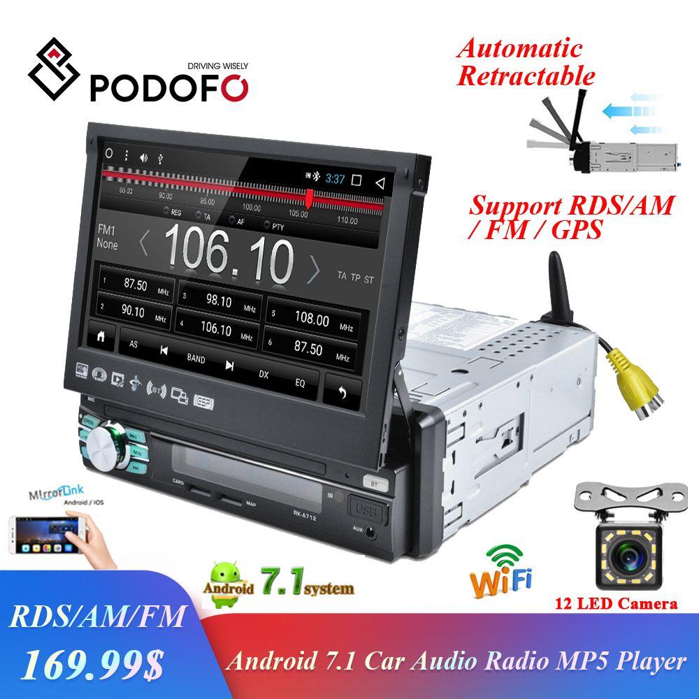 Podofo 1 din Android Auto Radio GPS Navigation Automatische Versenkbare Bildschirm WIFI Bluetooth Stereo AM/FM/RDS Radios spiegel Link