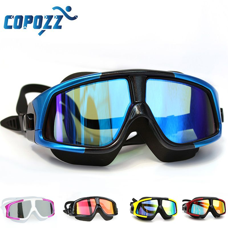 COPOZZ Swimming Goggles Comfortable <font><b>Silicone</b></font> Large Frame Swim Glasses Anti-Fog UV Men Women Swim Mask Waterproof