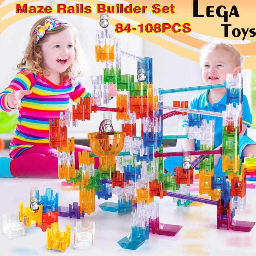 84-108PCS Maze Rails Builder Set DIY Construction Marble Race Run Track Cube building blocks Educational toys Gift for Children