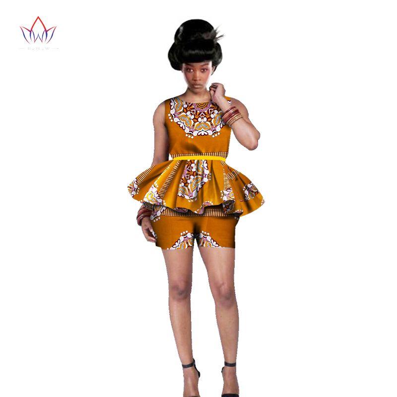 Femmes vêtements africains 6XL femmes tenues africaines 2 pièces ensembles impression africaine ensemble short et haut conception marque Dashikis imprimer BRW WY542