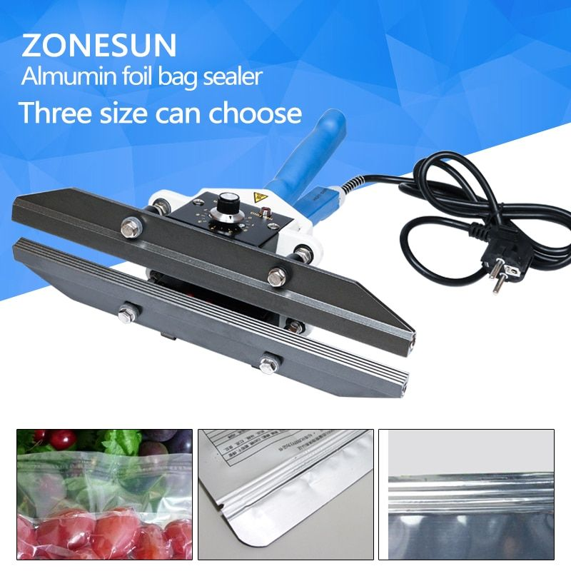 ZONESUN sealing machine DHL 1pcs FKR200 impulse heat to seal Almumin foil bag sealer handy packaging equipment electric tool