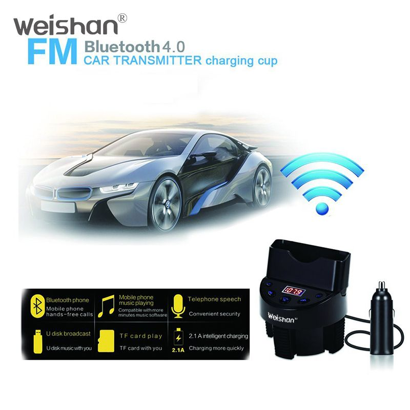 weishan Bluetooth Car Kit MP3 Player Hands-free Call Wireless FM Transmitter Car charger  Card For iPhone for Samsung
