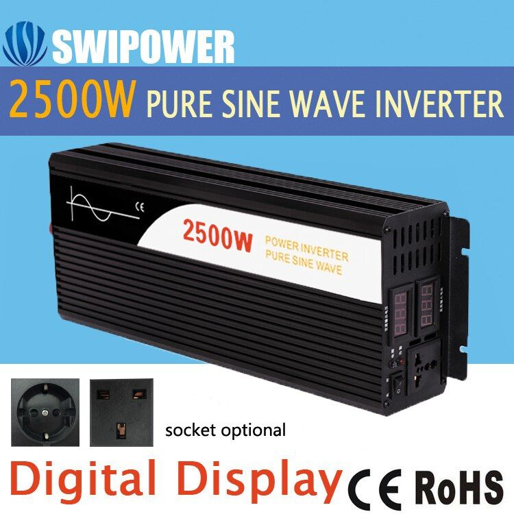 2500W pure sine <font><b>wave</b></font> solar power inverter DC 12V 24V 48V to AC 110V 220V digital display