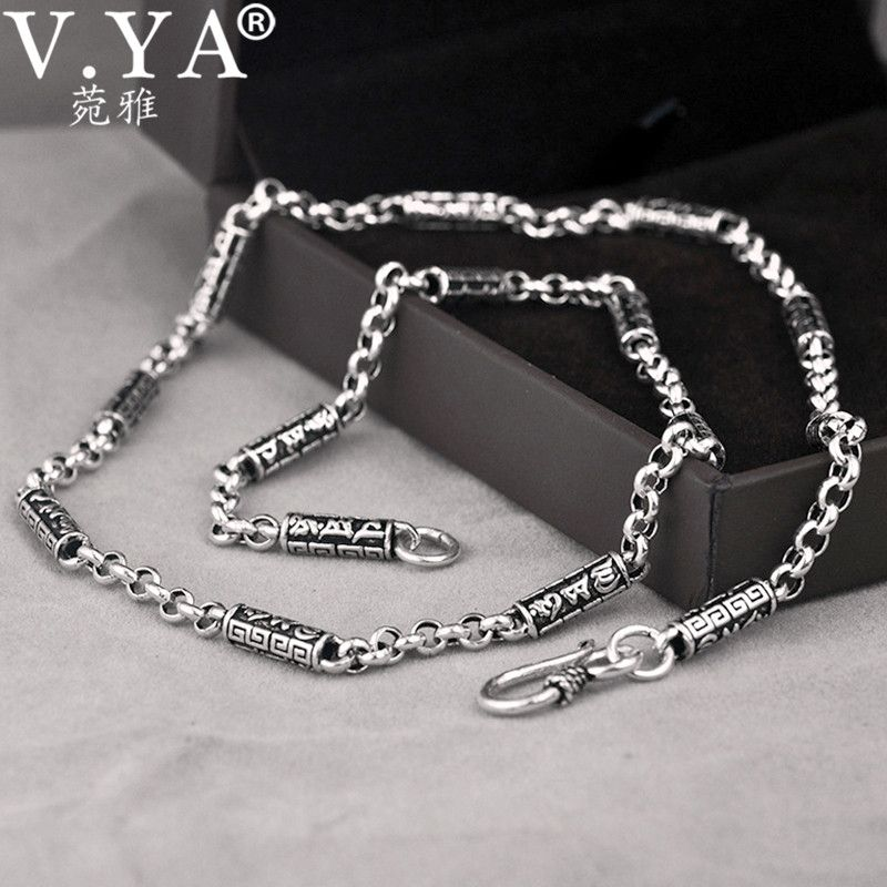 V.YA Vintage Solid 925 Sterling Silver Chain Necklaces Men Jewelry Om mani padme hum Thai Silver Men's Necklace 4mm Thickness