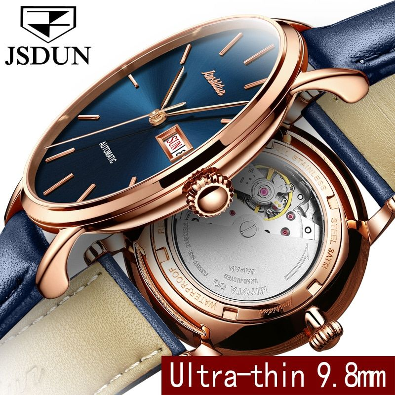 JSDUN Simple Mechanical Watches Men Business Clock Top Brand Leather Strap Male Watch Auto Date Week Automatic Wristwatch 8812P