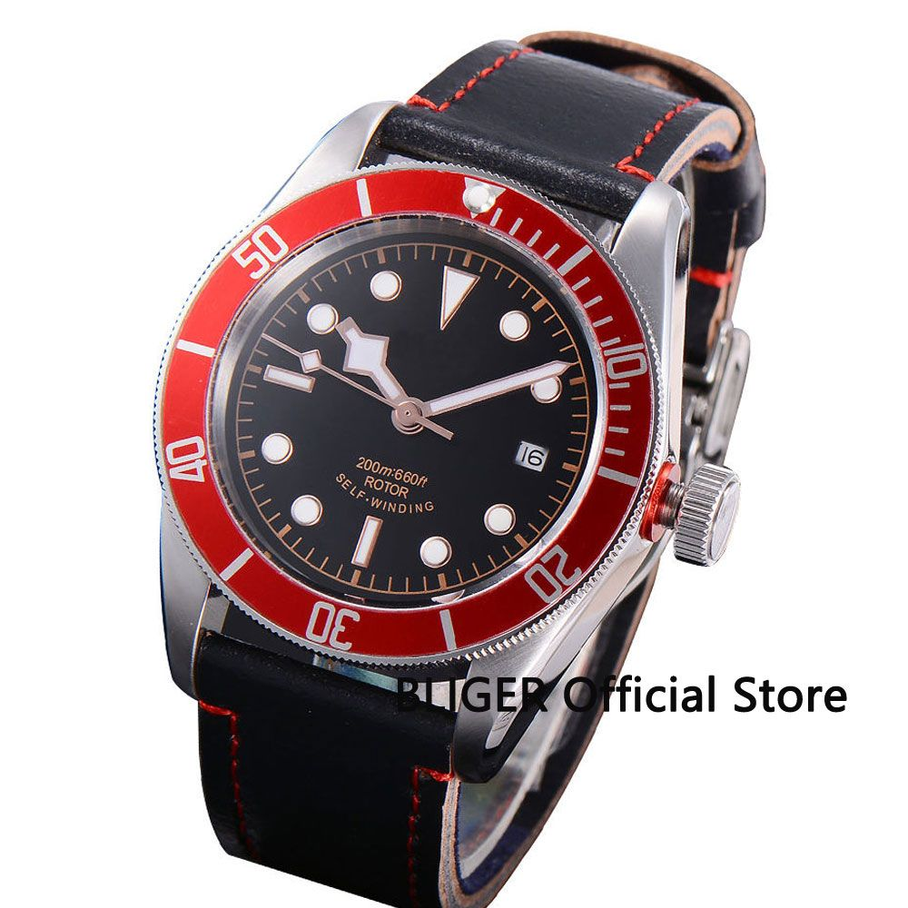 Fashion 41MM Black Sterile Dial Red Bezel Rose Golden Marks Sapphire Crystal 20ATM MIYOTA Automatic Movement Men's Watch BC51