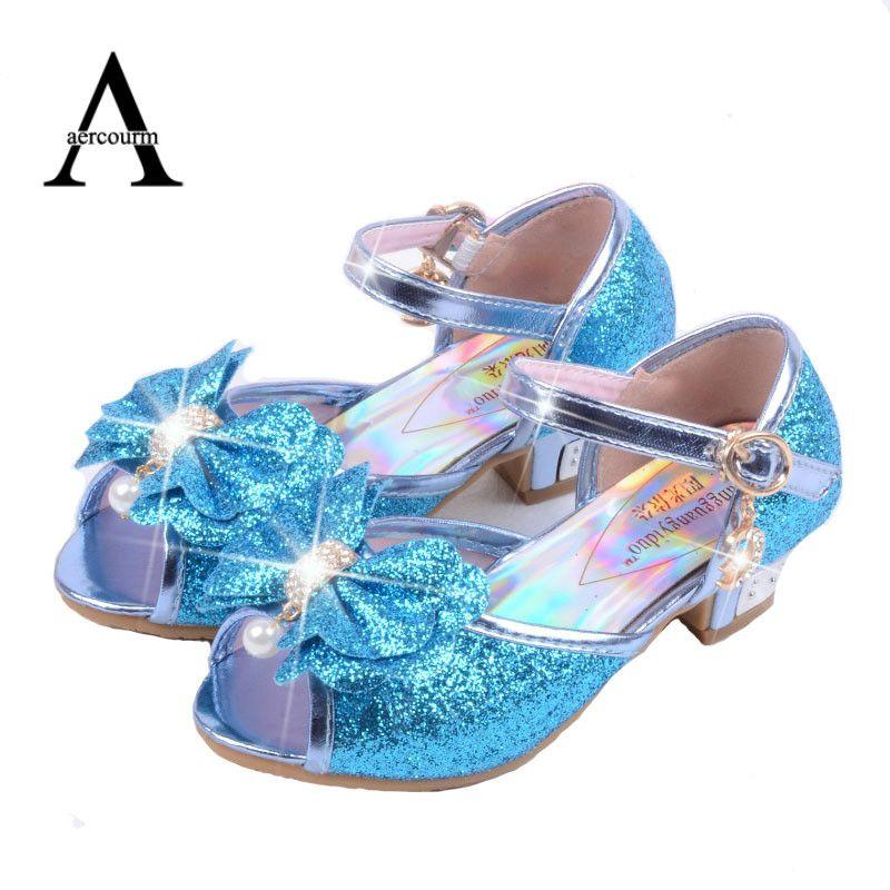 Aercourm Un Enfants En Cuir Sandales enfant haute talons Filles Princesse D'été Elsa Chaussures Chaussure Enfants Sandales Partie Anna Chaussures