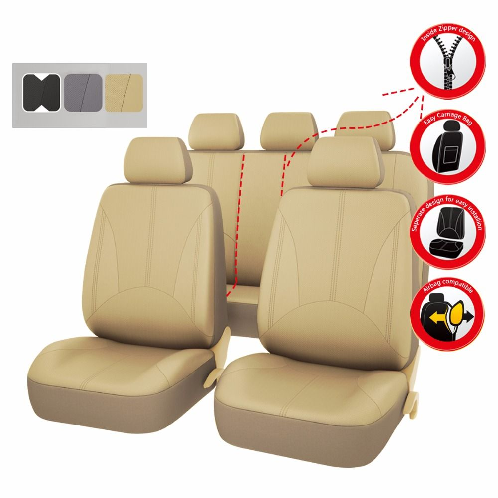 Car seat covers pu leather black gray beige color automotive car accessories car styling universal car seat cover for ford lada