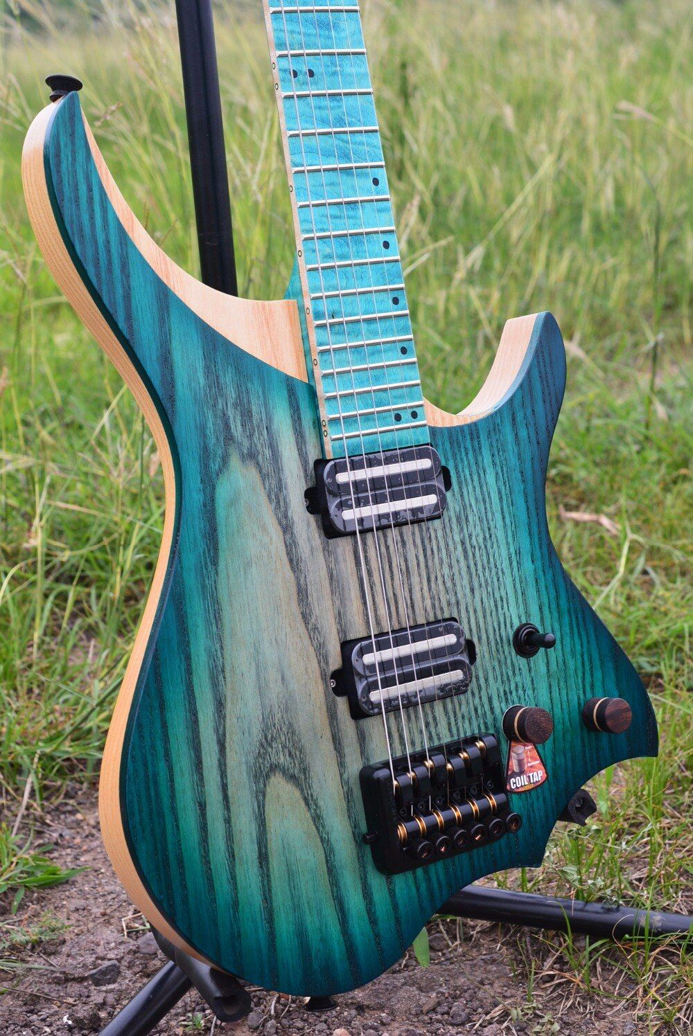 NK Headless Electric Guitar steinberger style Model blue burst Color Flame maple Neck in stock Guitar free shipping