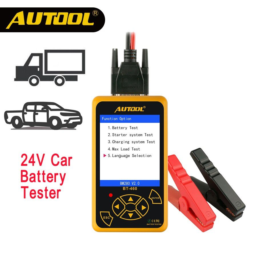 AUTOOL BT460 Car Battery Tester 12V 24V Heavy Duty Auto Battery Test Analyzer Multi-Languages Vehicle Cell Testing Repair Tools