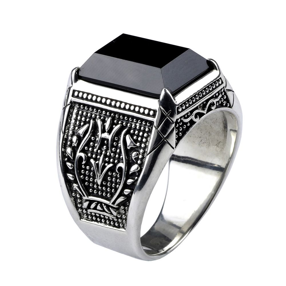 Vintage Ring Men Real Pure 925 Sterling Silver Jewelry Black Obsidian Natural <font><b>Stone</b></font> Rings For Mens Punk Rock Fashion