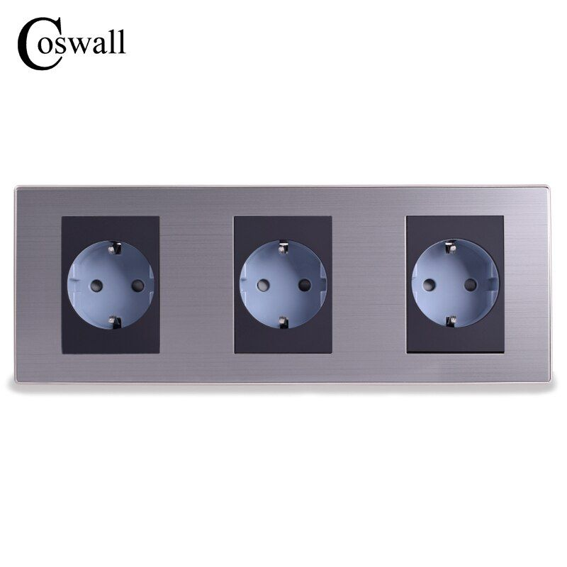 Coswall 16A EU Standard Triple Outlet Luxury Wall 3 Way Power Socket Enchufe Brushed Silver Panel Electrical Plug AC 110~250V