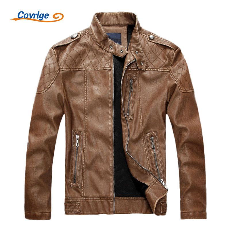 Covrlge Mens Leather Jackets Fashion Slim Solid Coat PU Clothes Male Winter Long Sleeves Stand Collar Motorcycle Leather MWP002