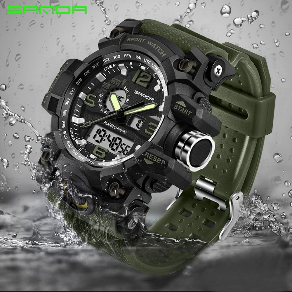SANDA military watch waterproof sports watches men's LED digital watch top brand luxury clock <font><b>camping</b></font> diving relogio masculino