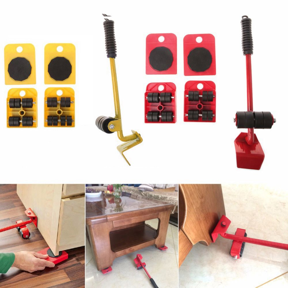 Furniture Mover Tool Set Furniture Transport Lifter Heavy Stuffs <font><b>Moving</b></font> Tool 4 Wheeled Mover Roller+1 Wheel Bar Hand Tool Set
