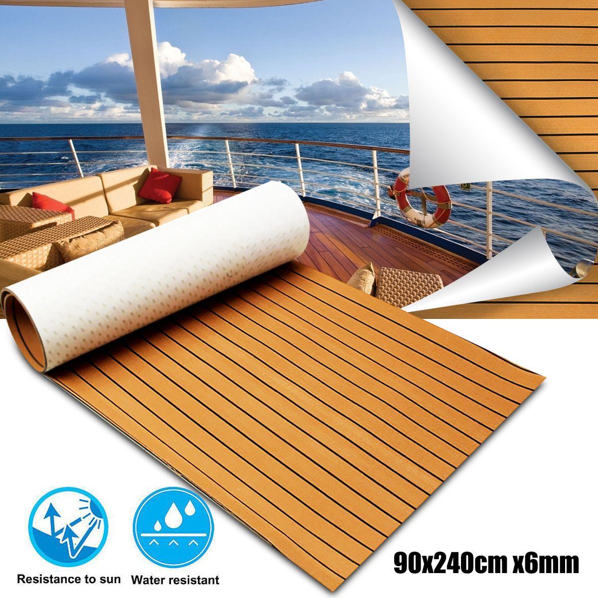 900x2400x6mm Self-Adhesive Gold With Black Lines Marine Flooring Faux Teak EVA Foam Boat Decking Sheet