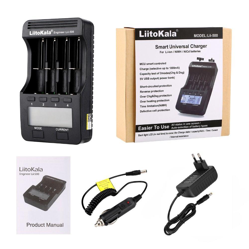 Liitokala lii-500 lii-500S LCD 3.7 V 1.2 V 18650 26650 21700 chargeur de batterie avec écran, tester le contrôle tactile de la capacité de la batterie