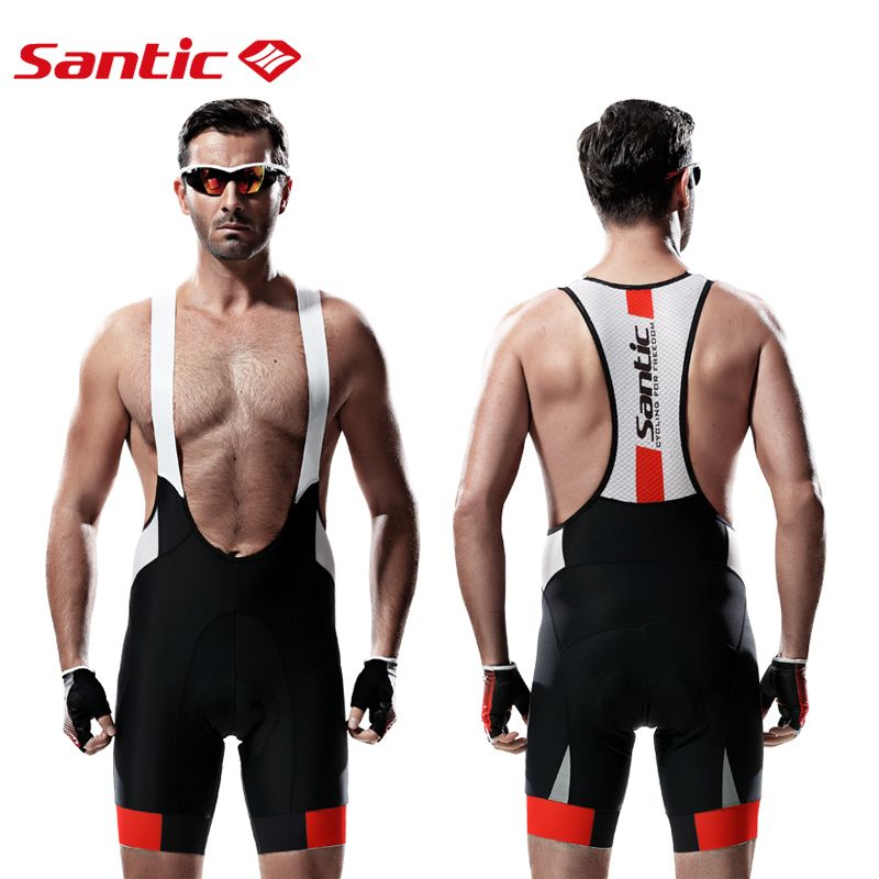 Santic Men Cycling Bib Shorts MTB Padded Breathable Mesh Mountain Road Bicycle Bike Short Cycling Bib Short mtb Ciclismo
